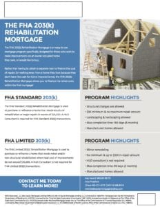 FHA 203(k) Rehabilitation Mortgage